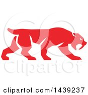 Clipart Of A Retro Red Saber Tooth Tiger Walking Royalty Free Vector Illustration by patrimonio