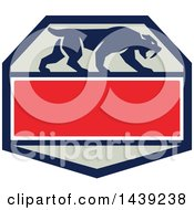 Clipart Of A Retro Silhouetted Walking Saber Tooth Tiger Cat In A Hexagon With Text Space Royalty Free Vector Illustration by patrimonio
