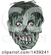 Clipart Of A Sketched Zombie Head Royalty Free Vector Illustration by patrimonio