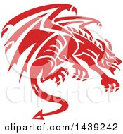 Clipart Of A Retro Crouching Red Gargoyle Dragon Royalty Free Vector Illustration