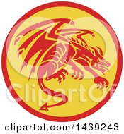 Clipart Of A Retro Crouching Red Gargoyle Dragon In A Circle Royalty Free Vector Illustration by patrimonio