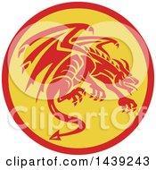 Retro Crouching Red Gargoyle Dragon In A Circle