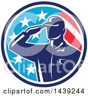 Poster, Art Print Of Retro Silhouetted Saluting American Soldier In A Flag Circle