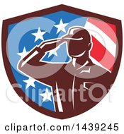 Clipart Of A Retro Silhouetted Saluting American Soldier In A Flag Shield Royalty Free Vector Illustration