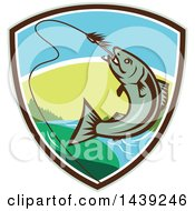 Clipart Of A Retro Trout Fish Jumping To Bite A Hook In A Shield Royalty Free Vector Illustration by patrimonio