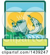 Clipart Of A Retro Silhouetted Man Holding Out A Coffee Mug And Reeling In A Hooked Salmon Fish In A Rectangle Royalty Free Vector Illustration by patrimonio