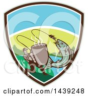 Clipart Of A Retro Silhouetted Man Holding Out A Coffee Mug And Reeling In A Hooked Salmon Fish In A Shield Royalty Free Vector Illustration by patrimonio