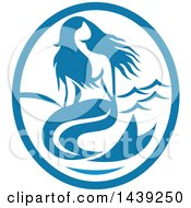 Clipart Of A Retro Mermaid Siren In A Blue And White Oval Royalty Free Vector Illustration by patrimonio