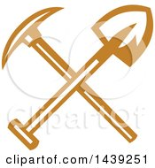 Retro Crossed Miner Pickaxe And Shovel