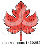 Clipart Of A Red Maple Leaf Royalty Free Vector Illustration