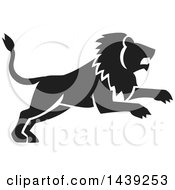 Clipart Of A Black Silhouetted Leaping Male Lion Royalty Free Vector Illustration