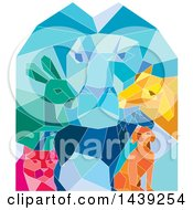 Clipart Of A Colorful Low Polygon Styled Male Lion Rabbit Cat Horse Dog And Goat Royalty Free Vector Illustration