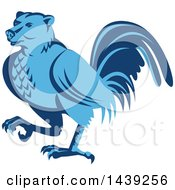 Clipart Of A Retro Blue Half Bear Half Chicken Hybrid Marching Royalty Free Vector Illustration