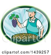 Clipart Of A Retro Caucasian Farmer Boy Holding Purple Grapes Over A Bowl Of Raisins In An Oval Royalty Free Vector Illustration