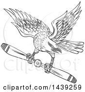 Clipart Of A Sketched Black And White Shrike Bird Flying With A Propeller Blade Royalty Free Vector Illustration