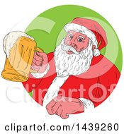 Clipart Of A Sketched Santa Claus Holding A Mug Of Beer Emerging From A Circle Royalty Free Vector Illustration by patrimonio