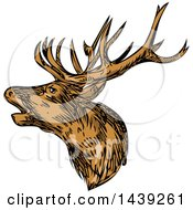 Clipart Of A Sketched Red Deer Stag Buck Royalty Free Vector Illustration