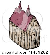 Clipart Of A Sketched Medieval Church Royalty Free Vector Illustration