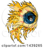 Clipart Of A Sketched Fire Eyeball Royalty Free Vector Illustration