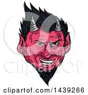 Clipart Of A Sketched Horned Demon Face Royalty Free Vector Illustration