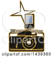Clipart Of A Camera And Flash Royalty Free Vector Illustration by Vector Tradition SM