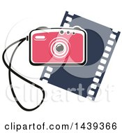 Clipart Of A Camera With A Strap Over A Film Strip Royalty Free Vector Illustration by Vector Tradition SM