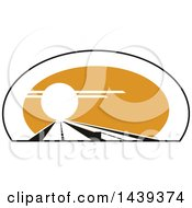 Clipart Of A Highway Road At Sunset Royalty Free Vector Illustration