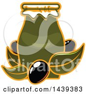 Clipart Of A Jar With Black Olives And Leaves Royalty Free Vector Illustration
