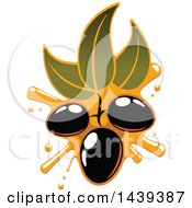 Clipart Of Black Olives And Leaves Dripping Oil Royalty Free Vector Illustration