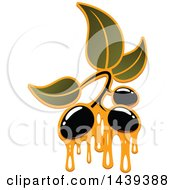 Black Olives And Leaves Dripping Oil