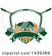 Clipart Of A Bear Hunting Shield Royalty Free Vector Illustration by Seamartini Graphics