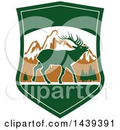 Clipart Of A Mountain And Elk Hunting Shield Royalty Free Vector Illustration by Vector Tradition SM