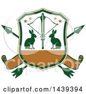 Clipart Of A Rabbit Hunting Shield Royalty Free Vector Illustration by Vector Tradition SM