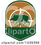 Clipart Of A Boar Hunting Shield Royalty Free Vector Illustration