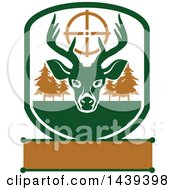 Clipart Of A Buck Hunting Shield Royalty Free Vector Illustration