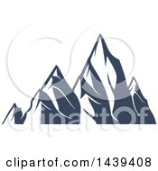 Clipart Of A Dark Blue Mountains With Snow Caps Royalty Free Vector Illustration