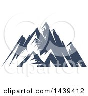Clipart Of A Dark Blue Mountains With Snow Caps Royalty Free Vector Illustration by Seamartini Graphics