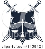 Clipart Of A Shield With Crossed Swords And Scales Of Justice Royalty Free Vector Illustration by Vector Tradition SM