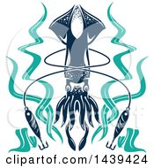 Clipart Of A Squid With Seaweed And Hooks Royalty Free Vector Illustration