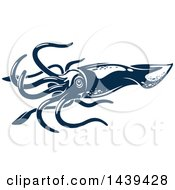 Clipart Of A Dark Blue Squid Royalty Free Vector Illustration