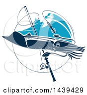 Clipart Of A Squid In A Circle With A Fishing Pole And Boat Royalty Free Vector Illustration
