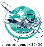 Clipart Of A Squid In A Turquoise Circle With A Fishing Boat And Hook Royalty Free Vector Illustration
