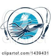 Clipart Of A Squid In A Circle With Hooks And A Boat Royalty Free Vector Illustration