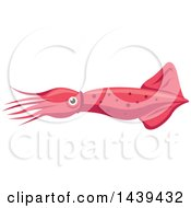 Clipart Of A Pink Squid Royalty Free Vector Illustration