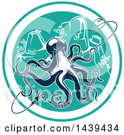 Clipart Of A Navy Blue Octopus With A Hook In A Circle Royalty Free Vector Illustration