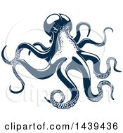 Clipart Of A Navy Blue Octopus Royalty Free Vector Illustration by Vector Tradition SM