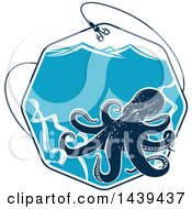 Clipart Of A Navy Blue Octopus In An Octagon Of Water With A Fishing Hook And Waves Royalty Free Vector Illustration
