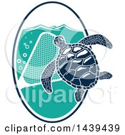 Clipart Of A Navy Blue Sea Turtle With A Net Royalty Free Vector Illustration