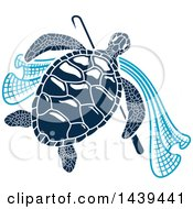 Clipart Of A Navy Blue Sea Turtle With A Hook And Net Royalty Free Vector Illustration