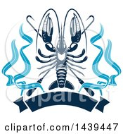 Clipart Of A Navy Blue Lobster With Hooks And A Banner Royalty Free Vector Illustration
